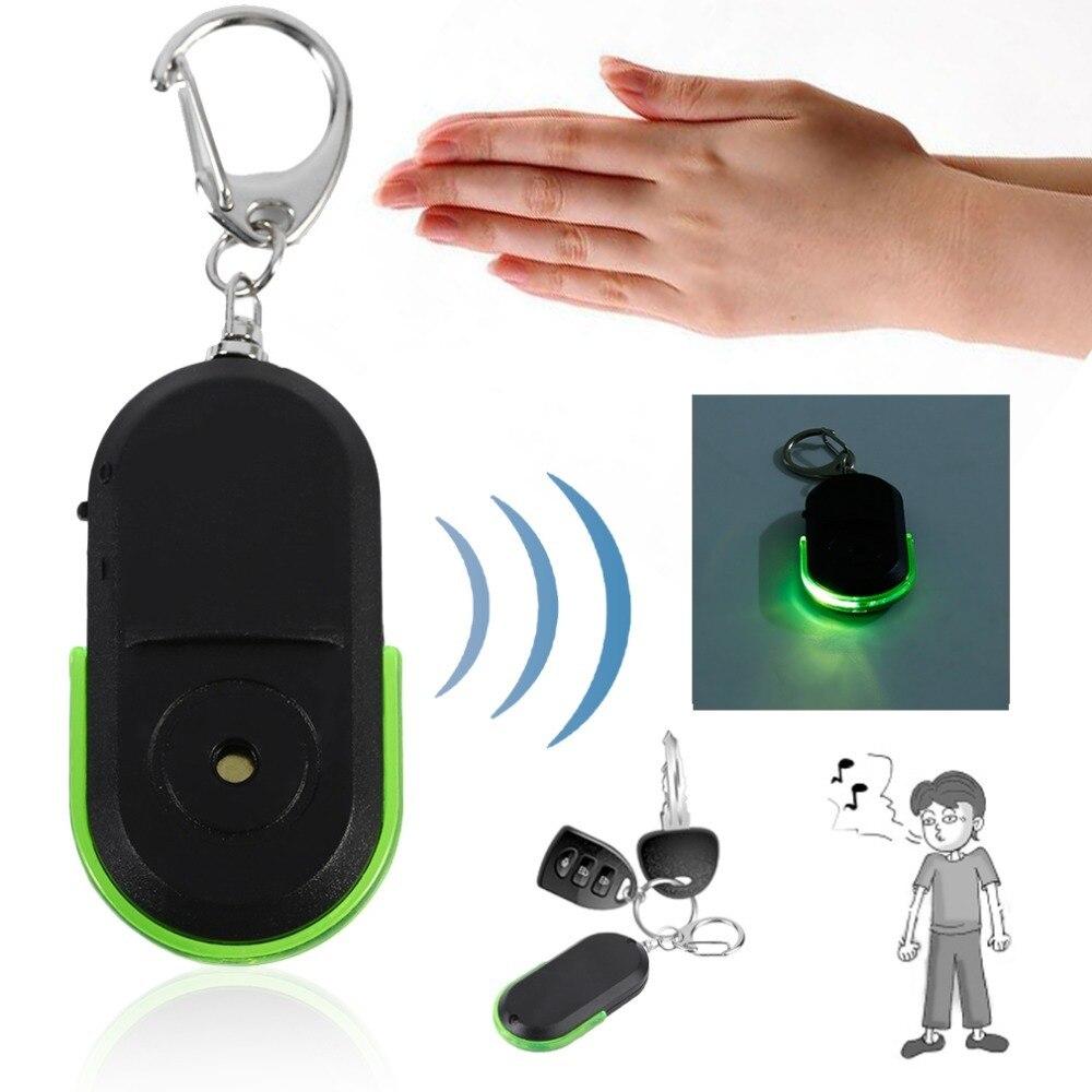 Портативный брелок от потери ключей, откликается на свист и хлопок. Беспроводной полезные свисток Звук + светодиодный свет Locator Finder брелок