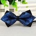 pointed 12cm*6cm men tie bow ties 2014 Blue jacquard silk bowties luxury gravatas borboleta bulk lot Wholesale