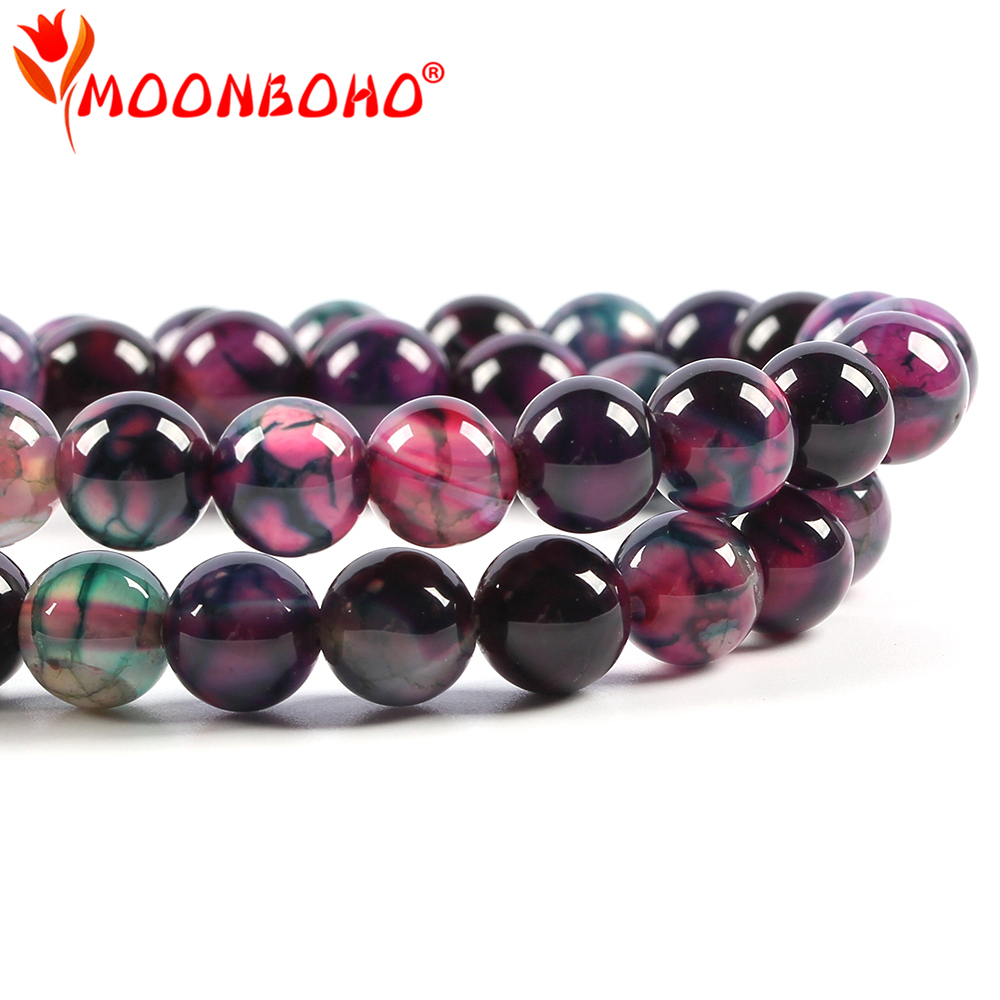 8mm Dark Rose Round Natural Stone Beads For DIY Jewellery Accessories Bracelet Spacer Large Beads Wholesale Original gifts