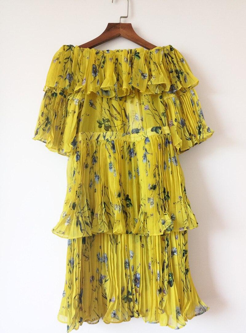 Rose Plissée Dames L'épaule Boho Slash D'été Mini Mousseline Robe Sexy 2018 Imprimé En Jaune De Cou jaune Plage Floral Soie qpfxgwUP