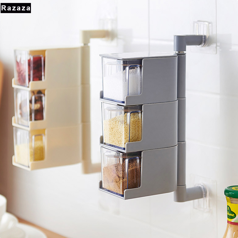 Self Adhesive Seasoning Box plastic jars for spices Kitchen organizer shelf Condiment Bottle Plastic Spices storage boxes bins
