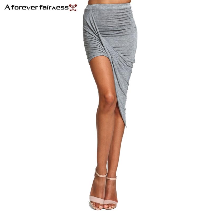 2018 Summer Women Skirt Hem Cross Fold Sexy Wrap Banded Waist Draped women skirt Cut Out