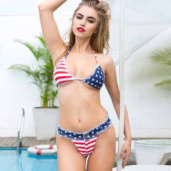 2 piece set women's Sexy shorts and bras 2020 Denim Cotton American flag super bikini suits set ladies Skinny suit twinset Girls 2piece set women s sexy bra and shorts 2019 summer cotton bandage prints super bikini suits set ladies sexy suit bikini twinset