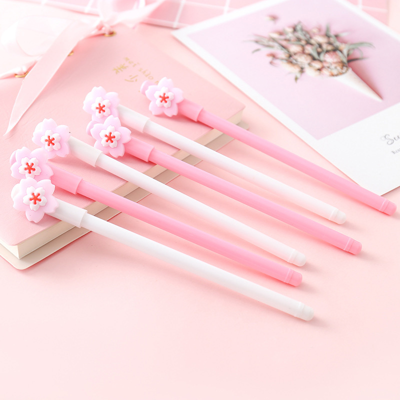 Cute Flower Petal Pens  Kawaii Neutral Pens 0.5mm Novelty Gel Pens For Kids Girls Gift School Office Supplies Korean Stationery