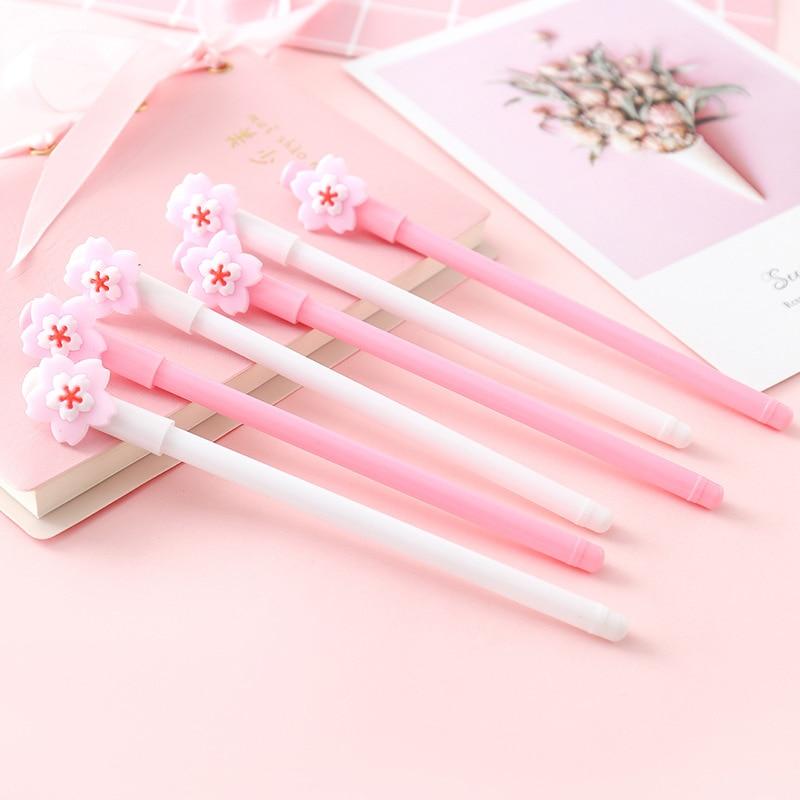 Cute Flower Petal Pens  Kawaii Neutral Pens 0.5mm Novelty Gel Pens For Kids Girls Gift School Office Supplies Korean Stationery