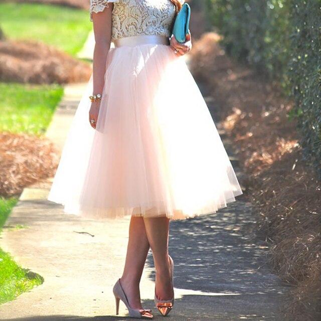 5 שכבות טול חצאית נשים קיץ כדור שמלת Midi חצאיות נקבה גבוהה מותן טוטו קפלים Faldas לנשים בית ספר שמש נהיגה לראשונה חצאית