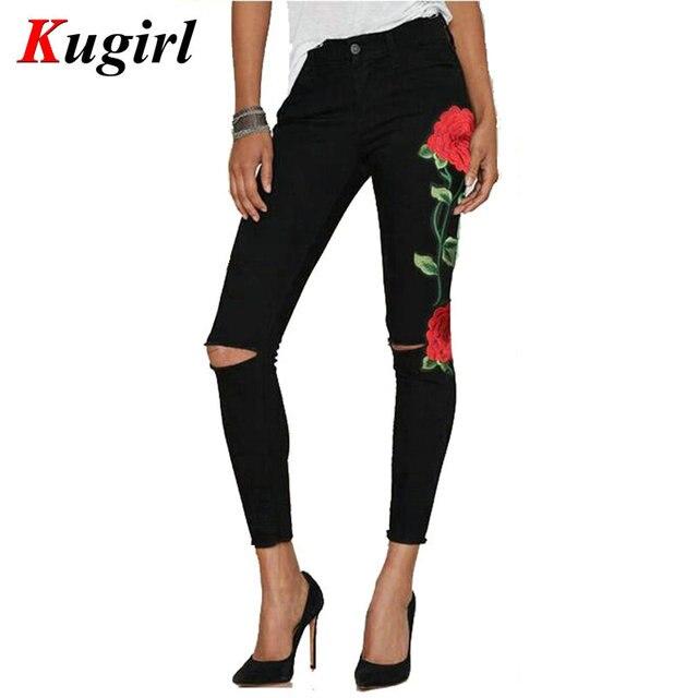 e93a2504869e Nouveau 2017 Femmes de Cru Broder Fleurs jeans Taille Haute Sexy Déchiré Crayon  Stretch Denim Pantalon