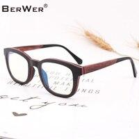 BerWer Blue Light Glasses Anti Blue Rays Wood Glasses Men Women Computer Goggles Anti UV UV400 Flat Mirror Eyeglasses