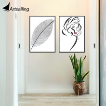 Wall Art Modern Nordic Style Canvas Painting Pictures Leaf Cool Girl Head for Living Room Home Decor Giclee HD Prints(China)