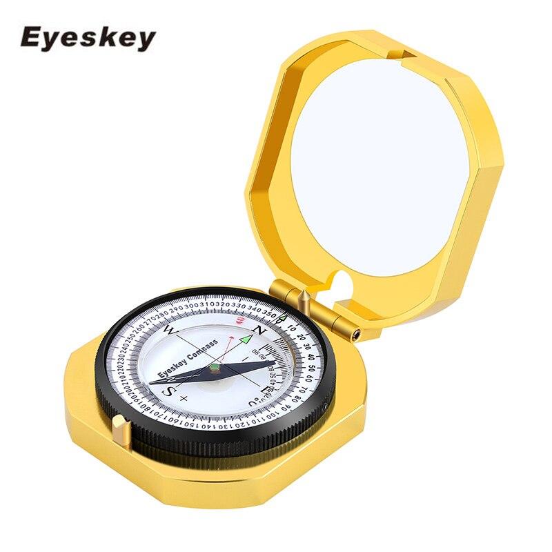 eyeskey navegacao metal bussola dourada handheld leve luminosa caca acampamento geological bolso bussola