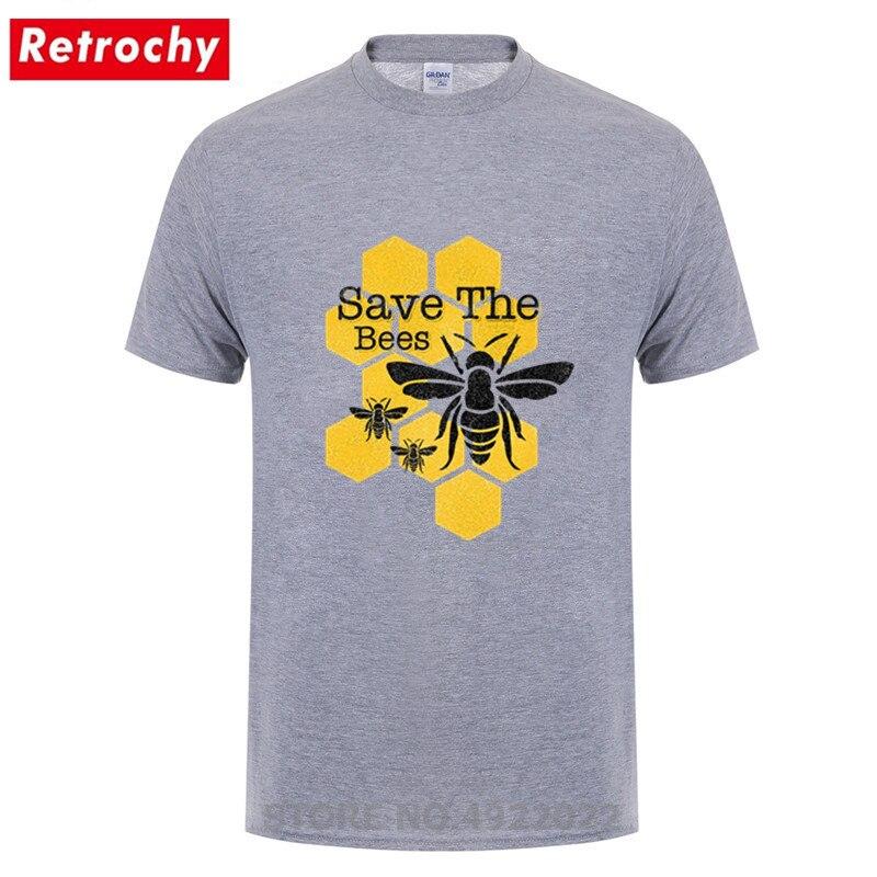 Salvar As Abelhas Do Favo de mel de alta Qualidade de Manga Curta de Algodão Orgânico Camiseta Hombre Tshirt dos homens Venda Barato Interessantes Abelhas t-shirt