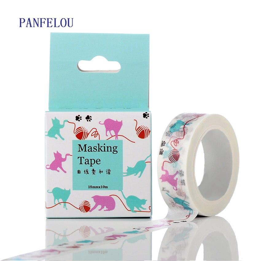 PANFELOU 1.5CMx10M animal cartoon Stickers border masking adhesive line paper washi tape DIY Scrapbooking Hand account