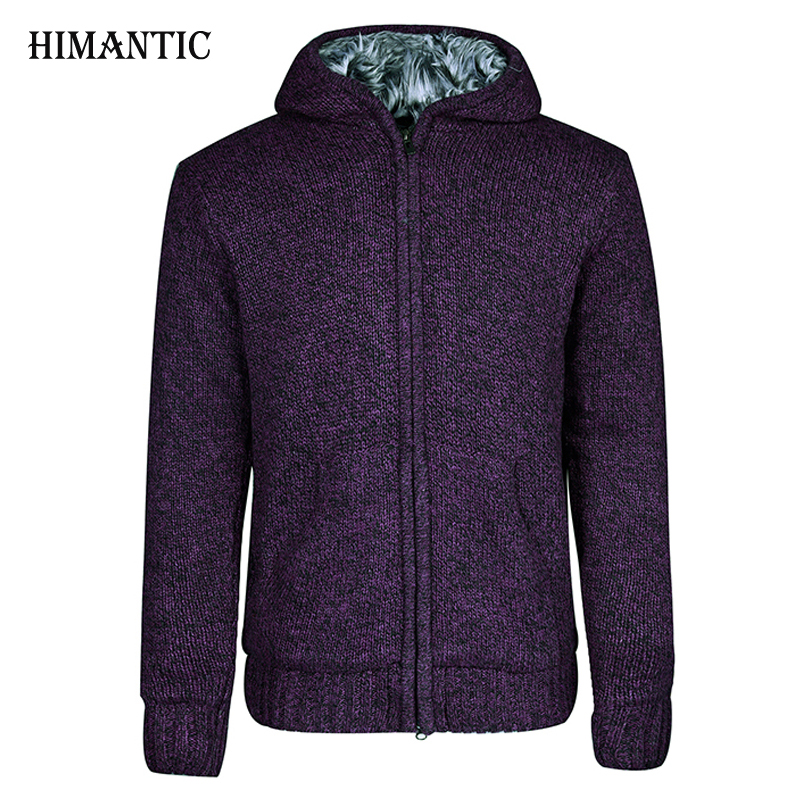 Men Jacket thick velvet cotton hooded fur jacket men's winter padded knitted casual sweater Cardigan coat Spring Outwear parka men s knitted jacket