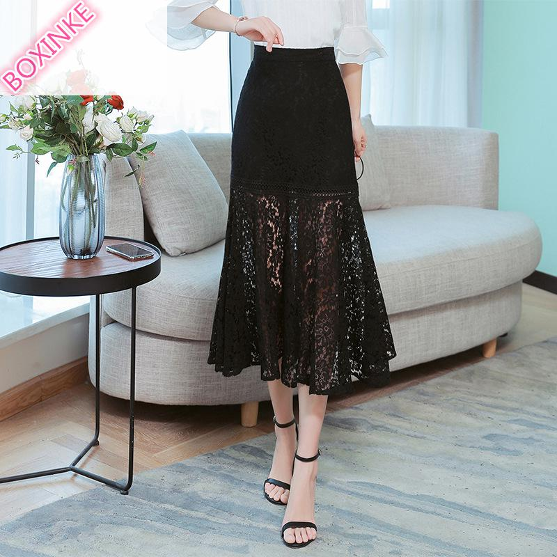Saia Midi Top Lanon Skirts Lace Fishtail Skirt Slim Bottom New High waist Lotus Leaf Hemisphere In Spring And Summer Of 2019 in Skirts from Women 39 s Clothing