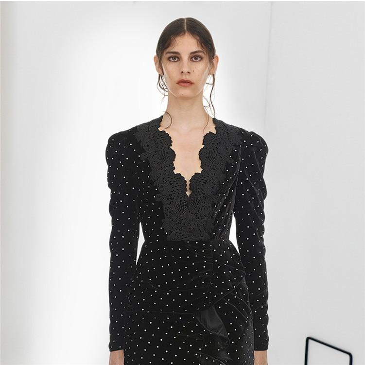 À Velours Diamants Longues Cou Noir De Élégant Robe Portrait Manches Nouvelle Arrivée Parti Profonde Luxe V Auto Femmes Printemps 2019 hBCtoQdxsr