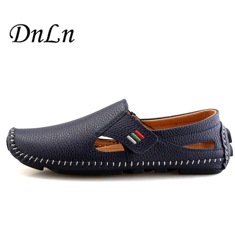 Handmade New 2017 Fashion Men's Flats Men Genuine Leather Shoes Breathable Footwear Casual Driving Shoes Loafers 2#D30 genuine leather men casual shoes summer loafers breathable soft driving men s handmade chaussure homme net surface party loafers