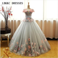 Grey Green Quinceanera Dresses Puffy Tulle With Pink Flowers Lace Prom Sweet 16 Dresses Ball Gowns Vestidos De 15 Anos Baile