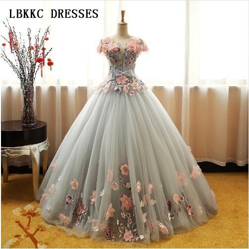 dc362c94a Vestidos De Quinceañera De color verde gris con tul hinchado con flores  rosadas De encaje para graduación Vestidos De Baile De graduación 16 Vestidos  De ...