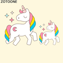 ZOTOONE Unicorn Iron On Patch Cartoon Heat Transfer Embroidery Moon Star Patches For Kids Clothing DIY Dress Applique Press