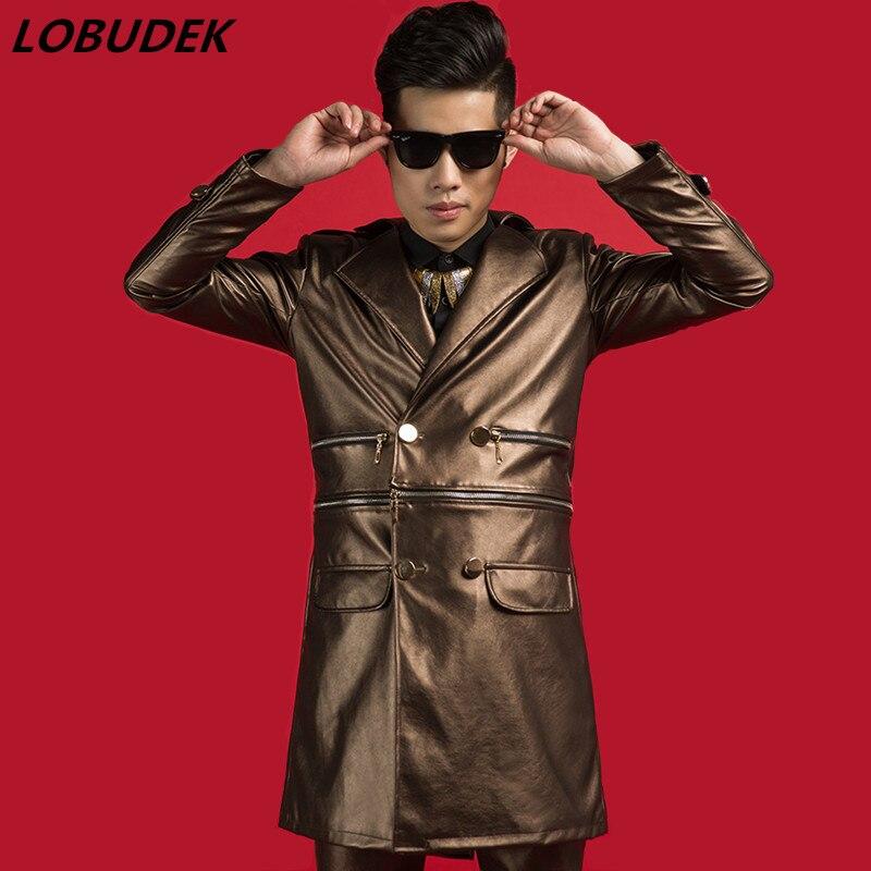 Marée cuir synthétique polyuréthane marron coupe-vent mode Slim manteau discothèque Vocal Concert Punk chanteur scène tenue Bar Rock danseur hôte Cosume