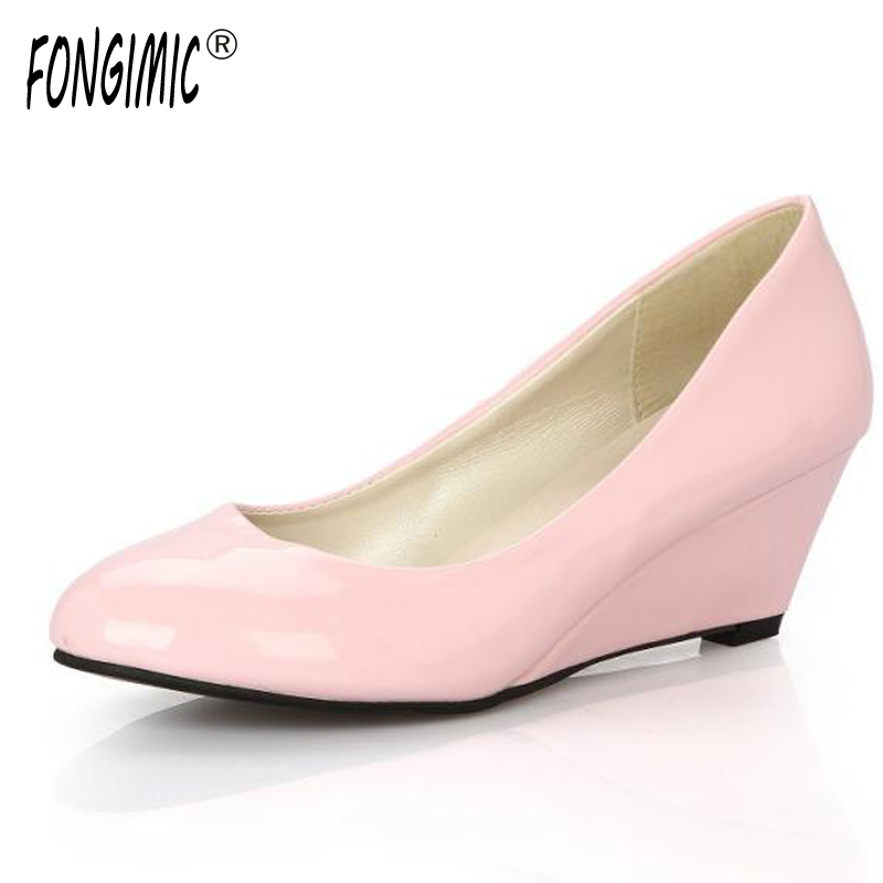 Spring Autumn New Style Fashion Trend Women Pumps Casual Wear Shoes Five Colors Round Toe Wedges Plain Female High Heels Slip-on 2017 shoes women med heels tassel slip on women pumps solid round toe high quality loafers preppy style lady casual shoes 17