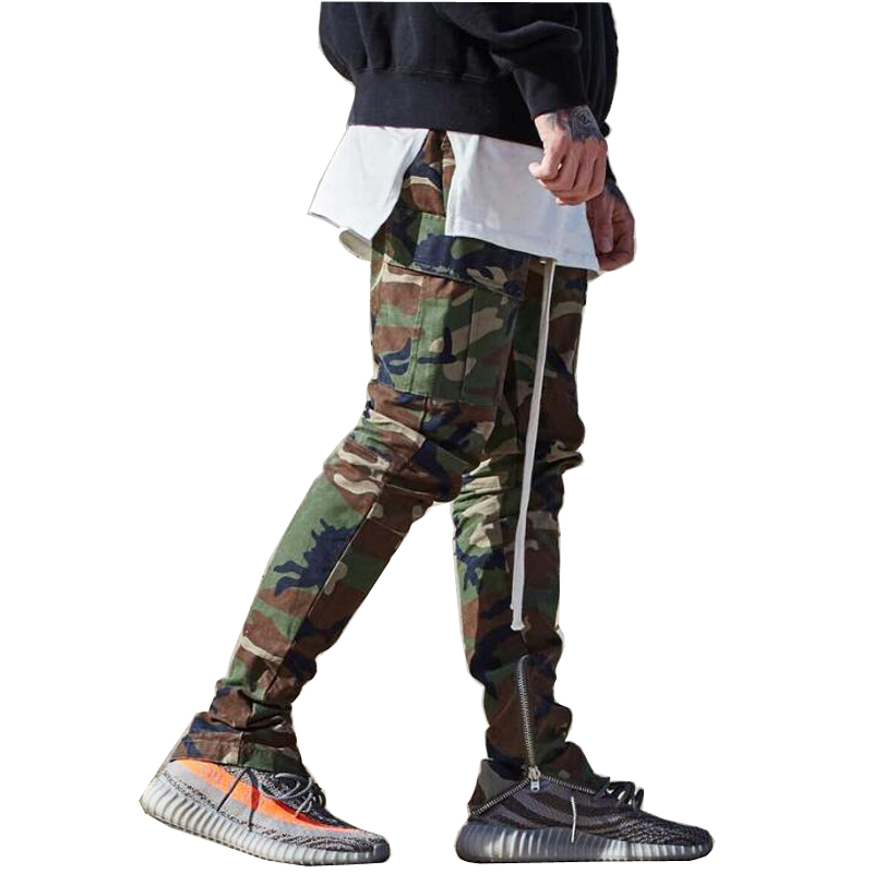 High Quality fashion 2017 Elastic Waist Long cargo pants joggers casual men camouflage Bottoms zipper hiphop Casual Sweatpants