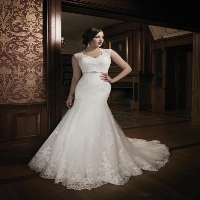 2015 New Designer High Neck White Lace Crystal Sashes Plus Size Corset  Wedding Dress With Long Train