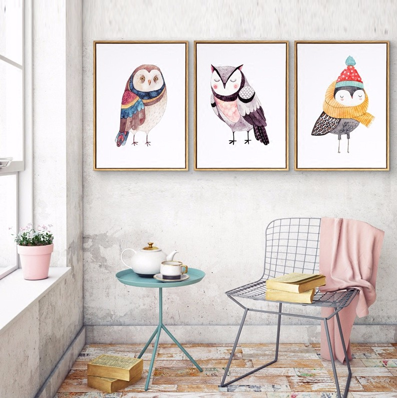 Watercolor Cute Cartoon Animals Oil Paintings Owl Canvas