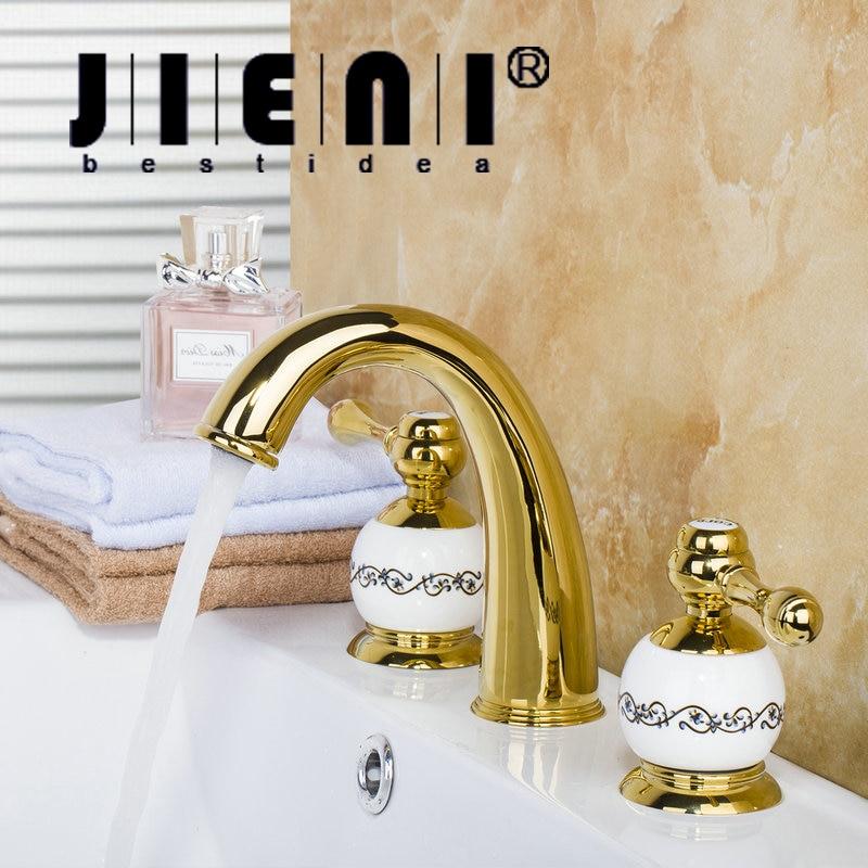 JIENI Luxury 3PCS Set Bathtub Golden Plated Bathroom Faucet set European Split Basin Mixer Tap ceramic Faucet Body Two Handles ouboni 3pcs set bathtub luxury golden plated bathroom faucet european split basin mixer tap ceramic faucet body cross handles