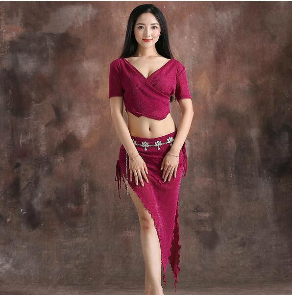 Cheap Wholesale Dancer Costume Women Shine Bellydance Clothes Summer Short Sleeve Top Sexy V Neck Skirt Coffee Black Purple