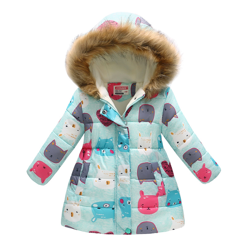 Winter Girls Warm Down Jackets Kids Fashion Printed Thick Outerwear Children Clothing Autumn Baby Girls Cute Jacket Hooded Coats (6)
