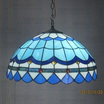 16-дюймовый подвесной светильник из витражного стекла Тиффани-барокко E27 110-240 В, подвесные светильники для дома, гостиной, столовой