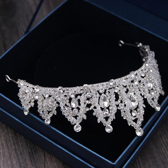 Baroque Luxury Rhinestone Bridal Crown Tiaras Handmade Silver Crystal Diadem Tiaras For Bride Headbands Wedding Hair Accessories 4