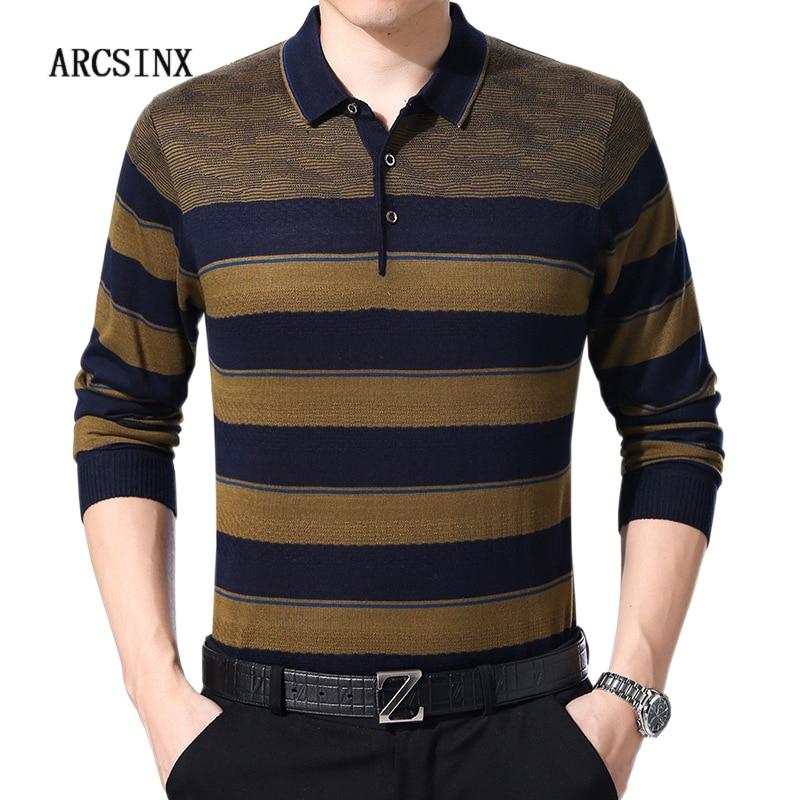 Comprar Camisa Pólo Listrada Homens Modas ARCSINX Outono de Manga Longa  Polos dos homens Malhas Casual Mens Camisas Pólo Marcas Homem Polo jersey  Baratas ... e19da5bfe6b17