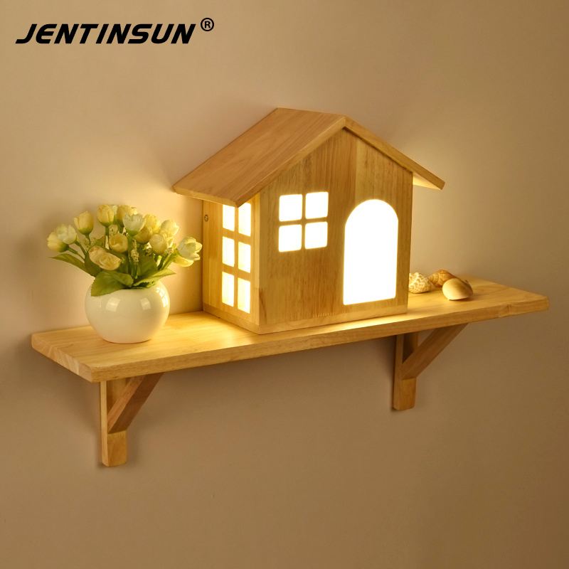 Nordic Creative Simple House Led Solid Wood Wall Lamp