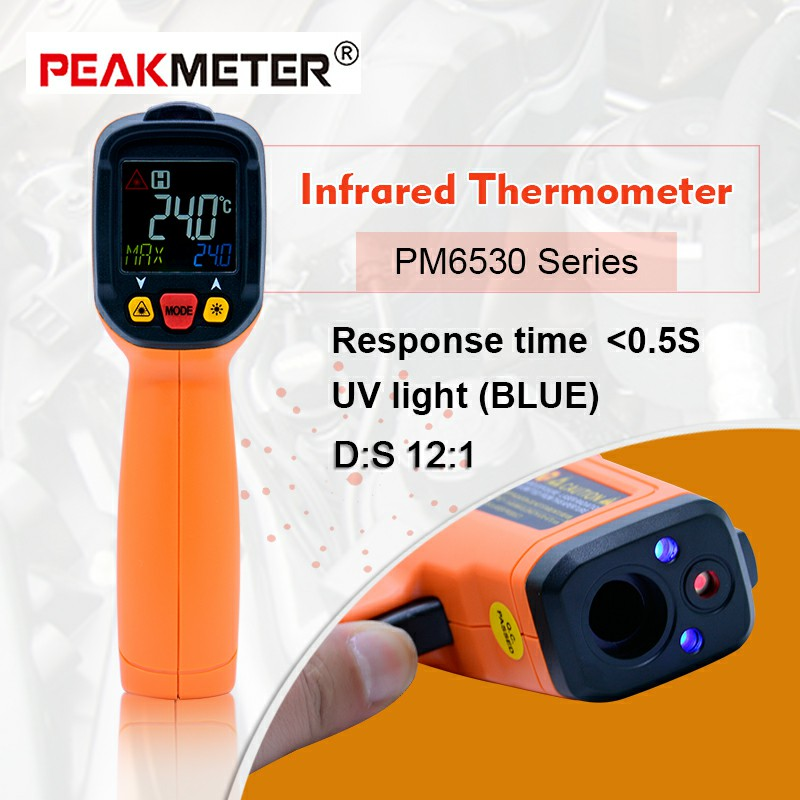 PEAKMETER Digital temperature testPM6530 series non contact Infrared Thermometer 12:1 K type Ambient UV Light ms6530 thermometer