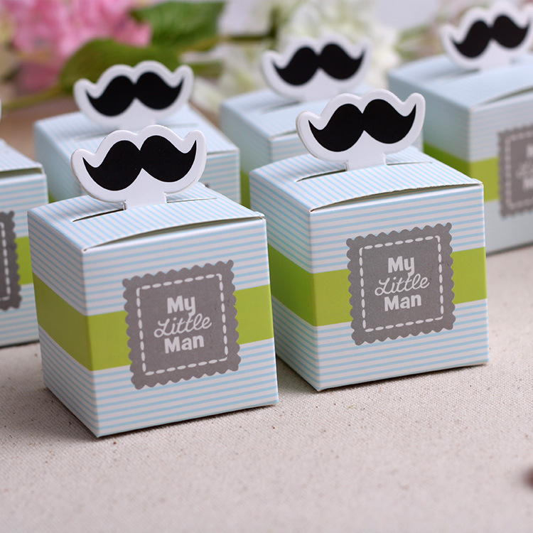 50pcs My Little Man Cute Mustache Birthday Boy Baby Shower Favors Boxes Souvenirs Wedding Gifts For Guests In Gift Bags Wrapping Supplies From