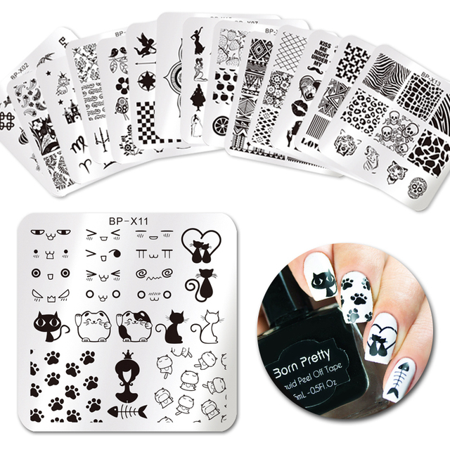 Born Pretty 6 6cm Square Nail Stamping Plates Lace Flower Animal Pattern Art Stamp
