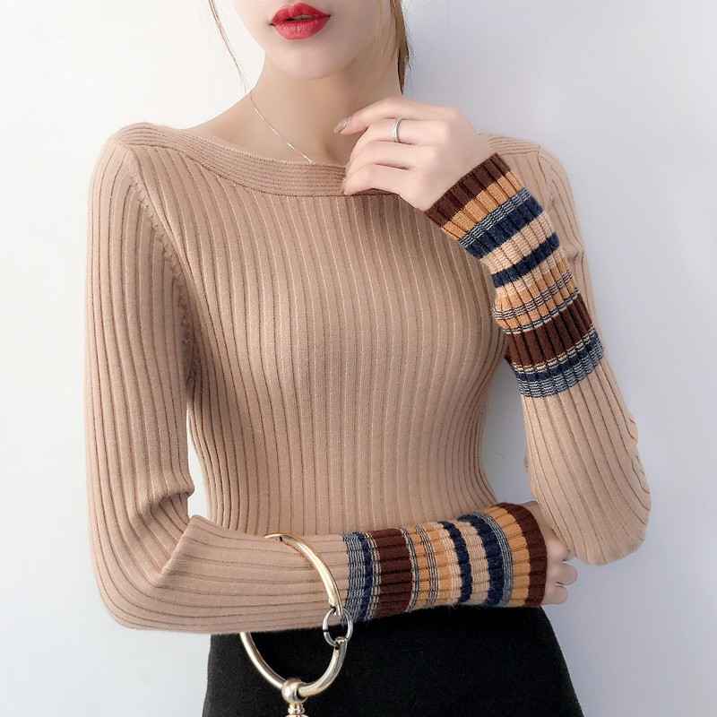 Autumn Winter Plus Size Women Sweater Slim Bottoming Fashion Color Patchwork Slash Neck Knit Pullovers Undershirts Jumpers Tops