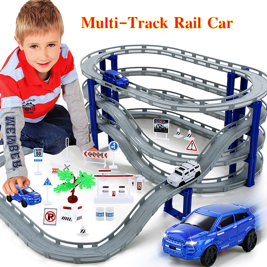 DIY Multi-Track Rail Car Electronic Racing Car Track Kids Toy Childrens Game Boys Xmas Gift Rail Building Block Educational Toys