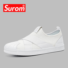 SUROM 2018 Men's Casual Shoes Luxury brand Designer Slip on Sneakers Breathable Mesh Male Shoes Lightweight Masculino Esportivo