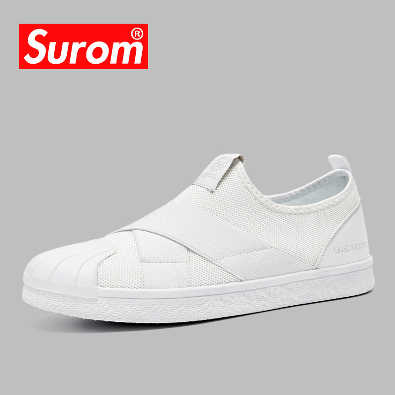 SUROM 2018 Men's Casual Shoes Luxury brand Designer Slip on Sneakers - Men's Shoes