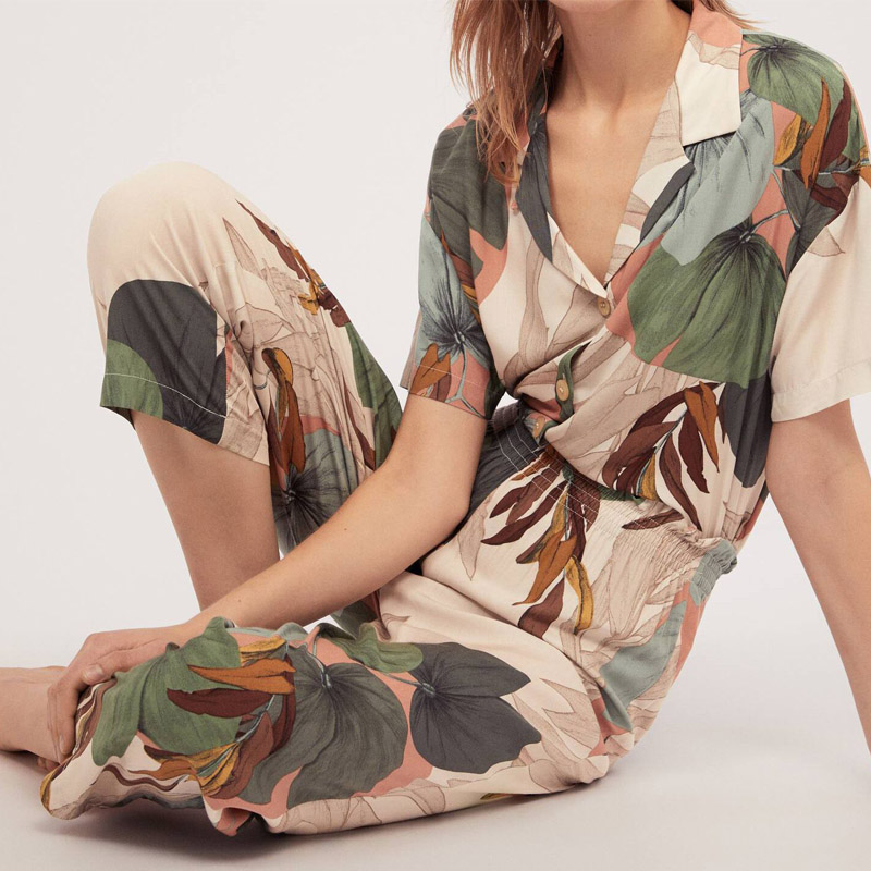 Ladies   Pajamas     Set   Ice Silk Summer Long Sleeves Collar Printing top Silk Cotton Print   Set   Home clothing Two-piece   Set