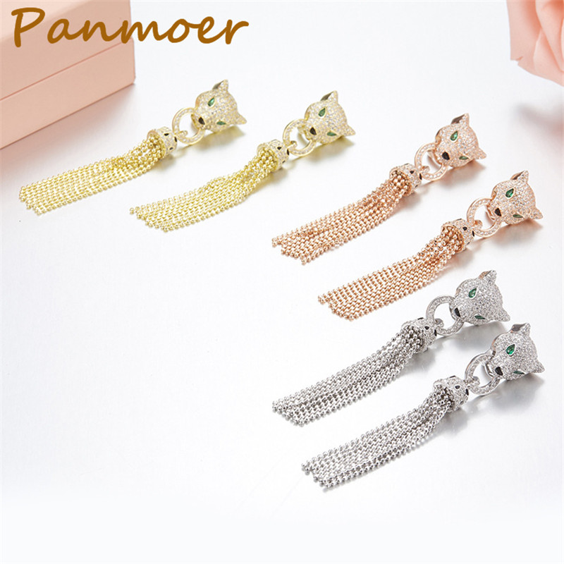 Drop shipping S925 100% silver Green Eyes White CZ stone leopard Fringed carter Earrings for women brand fashion gift Jewelry