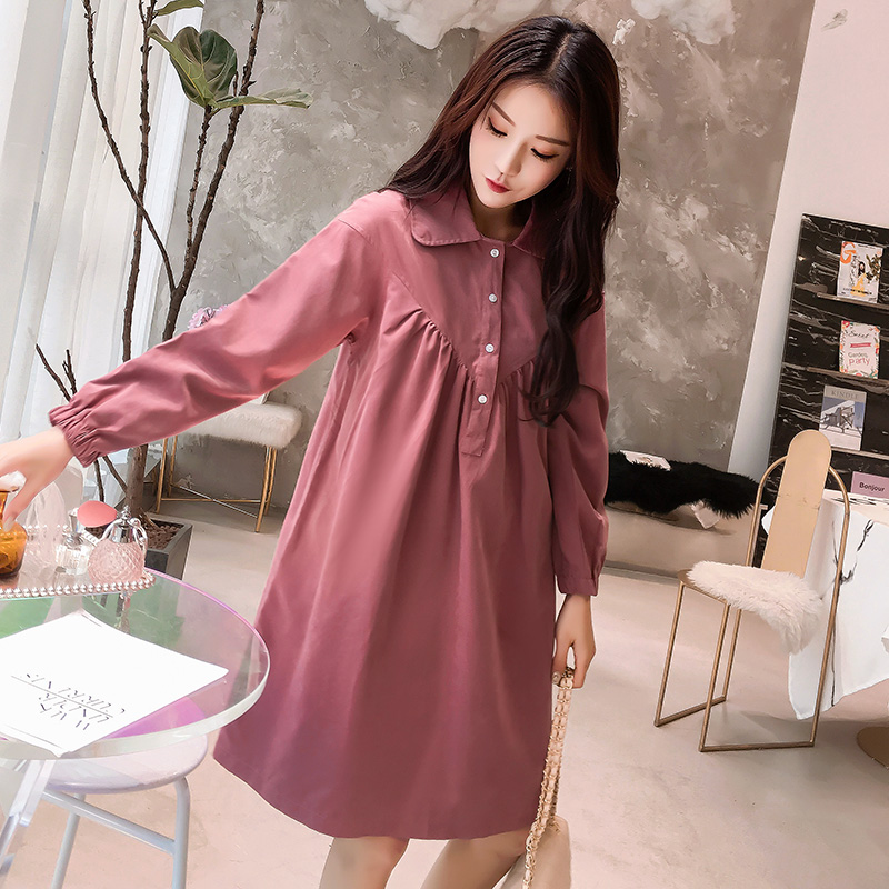 dad5f49138 9390  Sweet Loose Maternity Blouse Dress 2019 Spring Fashion Large Size  Clothes for Pregnant Women