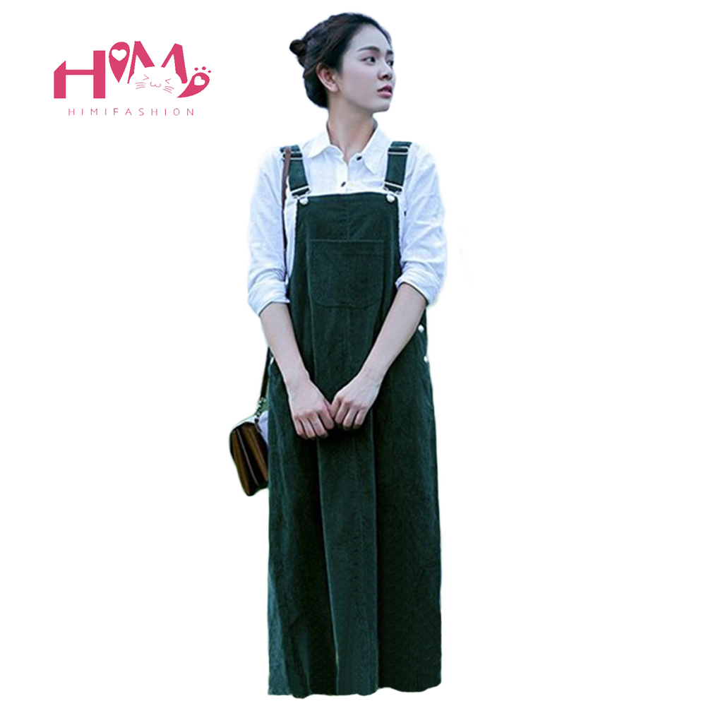 En velours côtelé De Bretelle Robe de Femmes Vert Casual Vintage School Girl Dress Lâche D'hiver Sangle Robe Frais Mori Mignon Dressing
