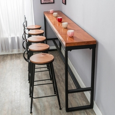 Retro Leisure Cafes Against The Wall Bar Table Home High Long Solid Wood Metal