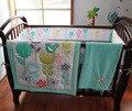 7Pcs Cot bedding set 100% cotton Baby bedding set Embroidery Sunflower Butterfly bird flower Crib bedding set Quilt Bumper Skirt