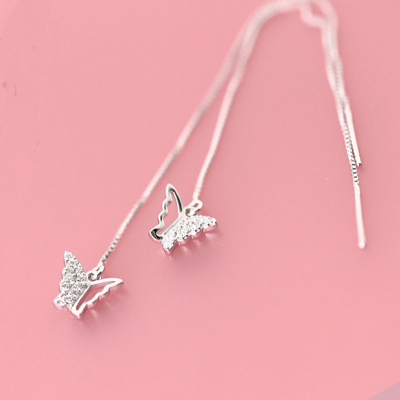 Best 925 Sterling Silver Earrings Crystal Long Butterfly Drop Earrings for Women Grils Gifts Sterling-silver-jewelry brincos