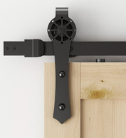 DIYHD Carbon Steel Wall Mounted Sliding Barn Door Hardware With 5ft 5 5ft 6ft 6 4ft